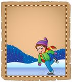 Пергамент при мальчик катаясь на коньках на льде Стоковое Изображение RF