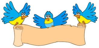 пергамент 3 птиц Стоковые Изображения