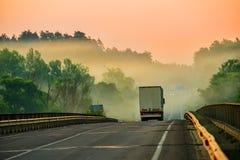 Перевезите путешествовать на грузовиках вдоль дороги леса в тумане на зоре Стоковые Изображения