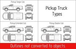 ПЕРЕВЕЗИТЕ типы на грузовиках планы приемистости вектора чертежа шаблона не преобразованные к объектам Стоковое фото RF