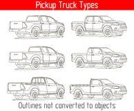 ПЕРЕВЕЗИТЕ типы на грузовиках планы приемистости вектора чертежа шаблона не преобразованные к объектам Стоковые Изображения RF