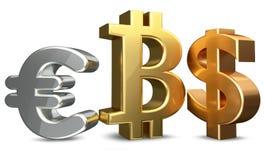Перевод доллара США 3d bitcoin евро Стоковая Фотография RF