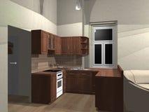 перевод кухни 3d Стоковое Изображение