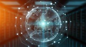 Перевод мирового обозрения 3D системы соединений глобальный Стоковая Фотография