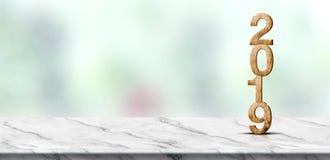 Перевод номера 3d Нового Года 2019 деревянный на белой мраморной таблице a стоковые изображения rf