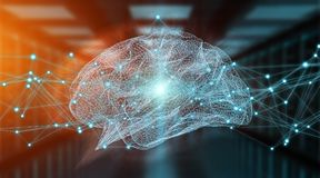 Перевод рентгеновского снимка 3D человеческого мозга цифровой Стоковая Фотография RF
