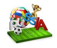 Перевод России 3d футбольного мяча Стоковые Изображения RF
