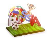 Перевод России 3d футбольного мяча Стоковое Изображение