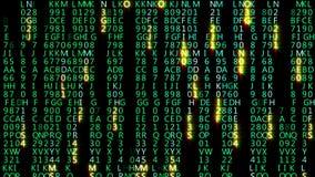 перевод 3D абстрактных блоков кода матрицы расположенных в виртуальном космосе стоковые изображения