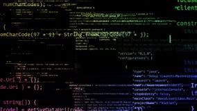 перевод 3D абстрактных блоков кода расположенных в виртуальном космосе Стоковые Изображения