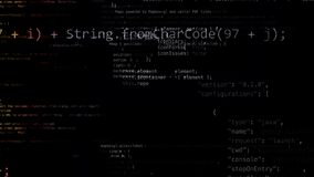 перевод 3D абстрактных блоков кода расположенных в виртуальном космосе Стоковое Изображение