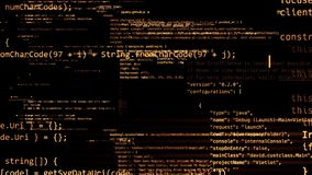 перевод 3D абстрактных блоков кода расположенных в виртуальном космосе Стоковая Фотография RF