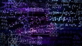 перевод 3D абстрактных блоков математических формул расположенных в виртуальном космосе Стоковое Изображение RF