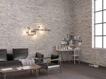 перевод 3d белой комнаты прожития просторной квартиры кирпича с местом службы бесплатная иллюстрация