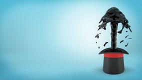 перевод 3d большой черной шляпы ` s illusionist при весна черного смазочного минерального масла пропуская из ее на голубой предпо Стоковое Изображение