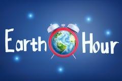 "перевод 3d будильника с землей планеты вместо циферблата с названием ""час земли "" стоковое фото"