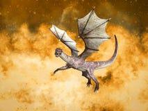 перевод 3D дракона сказки в огне иллюстрация вектора