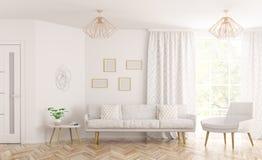 Перевод 3d живущей комнаты внутренний Стоковое Изображение