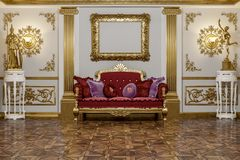 перевод 3d залы в классическом renderer короны кино 4D стиля стоковая фотография