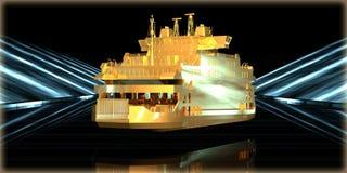 перевод 3d золотого объекта внутри футуристической дороги Стоковая Фотография RF