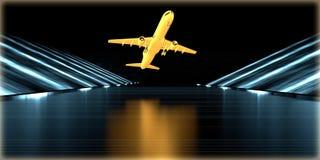 перевод 3d золотого объекта внутри футуристической дороги Стоковое Изображение RF
