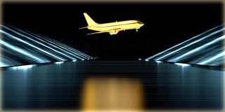 перевод 3d золотого объекта внутри футуристической дороги Стоковая Фотография