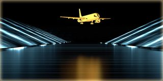 перевод 3d золотого объекта внутри футуристической дороги Стоковые Изображения RF
