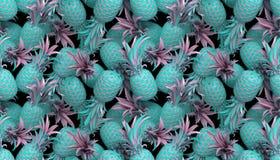 перевод 3d картины яркого стиля tiki безшовной с ананасами иллюстрация вектора