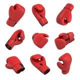 перевод 3d красной перчатки бокса на белой предпосылке в много различных углов Стоковые Изображения RF