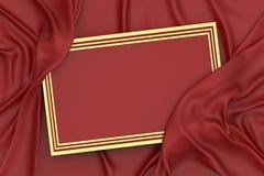 перевод 3d красный и рамка и drapery золота стоковые фотографии rf