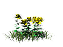 перевод 3d куста цветка изолированный на белизне можно использовать для fo Стоковые Фотографии RF
