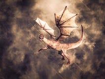 перевод 3D летания дракона сказки иллюстрация вектора
