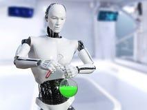 перевод 3D мужского робота делая эксперимент по науки стоковая фотография