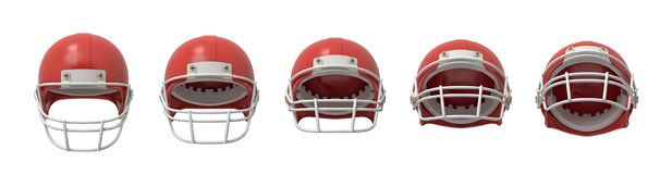 перевод 3d нескольких шлемов американского футбола в красном цвете показанном в вид спереди с по-разному раскрытой передней решет Стоковые Изображения