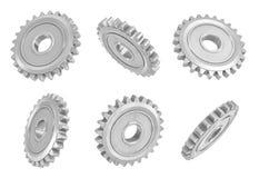 перевод 3d несколько metal шестерни шпоры вися в различных углах на белой предпосылке иллюстрация штока