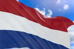 перевод 3D нидерландского флага развевая на предпосылке голубого неба Стоковые Фотографии RF
