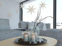 перевод 3d нордический дом в современной квартире 2 противников Стоковая Фотография RF
