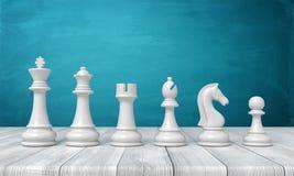 перевод 3d полного набора белых figurines шахмат от вида к положению пешки в линии на деревянном столе иллюстрация вектора