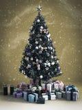 перевод 3D рождественской елки с подарками вниз иллюстрация штока