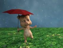 перевод 3D свиньи шаржа в дожде стоковое изображение