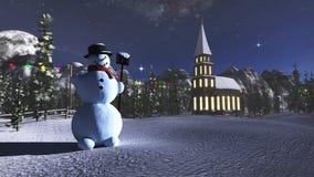 перевод 3D снеговика и маленькой церков в ландшафте зимы стоковое фото