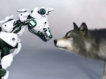 перевод 3D собаки робота встречая волка стоковое изображение