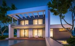 перевод 3d современного дома на ноче Стоковая Фотография