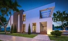 перевод 3d современного дома на ноче Стоковое фото RF