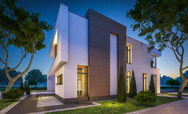 перевод 3d современного дома на ноче Стоковые Фото