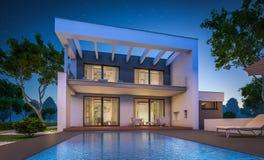 перевод 3d современного дома на ноче Стоковая Фотография RF