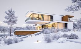 перевод 3d современного дома рекой в зиме Иллюстрация штока