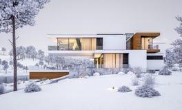 перевод 3d современного дома рекой в зиме Иллюстрация вектора