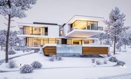 перевод 3d современного дома рекой в зиме Бесплатная Иллюстрация