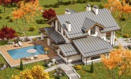 перевод 3D современного дома Стоковые Фото